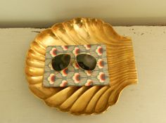 Large Brass Tray Dish Shell Clam Footed Regency by ModRendition, $65.00