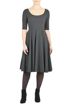 Our cotton jersey knit dress is styled with a scoop neck, princess seamed bodice and a full flared skirt for classic fit-and-flare flattery.