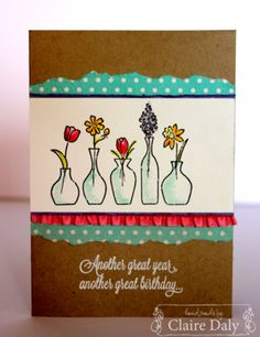 Stampin' Up! birthday card using Vivid Vases from the Occasions Seasonal Catalogue. Claire Daly Stampin' Up! Demonstrator Melbourne Australia #vividvases #stampinup #stampinupaustralia