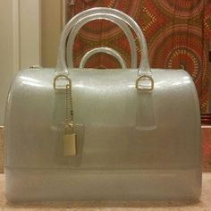 Clear Glitter Jelly Barrel Purse Shaped Like New Only