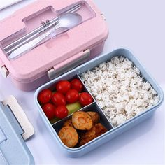 Japanese Bento Pastel Lunch Box Lunch Box Capacity Material Wheat straw + PP + stainless steel utensils Microwavable Yes Package includes Lunch Box, Chopsticks and Spoon Size x 13 x Japanese Bento Lunch Box, Bento Box Lunch, Japanese School Lunch, Cute Lunch Boxes, Lunch Box Containers, Boite A Lunch, Lunch Box Recipes, Bento Recipes, Lunch Ideas