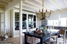 Dining room white beams