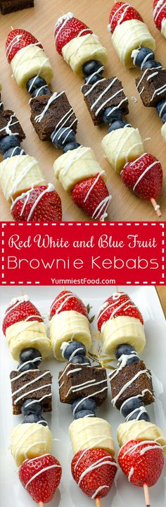 Healthy Summer Red, White and Blue Fruit Brownie Kebab - super easy, tasty and impressive for parties or snacks! Very nice and super healthy dessert perfect for summer days!