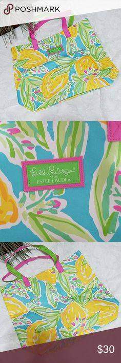 """Lilly Pulitzer for Estee Lauder Tote NWOT Beautiful brand new Lilly Pulitzer for Estee Lauder Tote NWOT. Approximately 13"""" x 14"""" x 4 1/2"""". No stains or damages. Still has original plastic bag it came in. Canvas type fabric outside and plastic/nylon type inside. Photos are taken to the best of my abilities so please ask questions prior to purchase. Due to lighting color may from photo to the actual item. Lilly Pulitzer for Estee Lauder Bags Totes"""