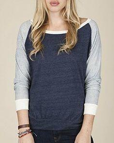 Alternative Ladies' Printed Slouchy Pullover - Railroad - L