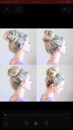 4 Easy Messy Buns – Tutorial Per Capelli Up Hairstyles, Pretty Hairstyles, Easy Morning Hairstyles, Easy Bun Hairstyles For Long Hair, Nurse Hairstyles, Vintage Hairstyles Tutorial, Super Easy Hairstyles, Popular Hairstyles, Braided Hairstyles