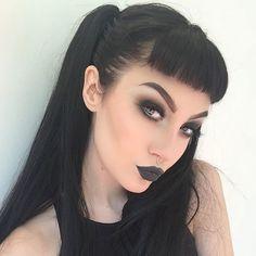 black smoky eye, black lipstick, pretty black hair
