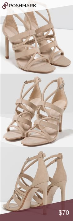 """Zara Nude Tan Strappy Sandal Heel Brand New In Box - Zara - I have one size 7 1/2 and one size 8 left - sand / nude color - 3 1/2"""" sandal / heel - can be worn casual or dress up completely!  Must have year around heel! Zara Shoes Heels"""