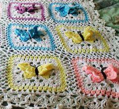 Butterflies Crochet Granny Square Pattern