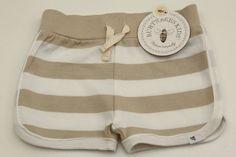 Burt's Bees Baby™ Girl's Rugby Shorts ~ Beige & White ~ Size 4T ~ Organic Cotton #BurtsBees #Shorts #DressyEverydayHoliday