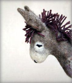 Vania  Felt Donkey Art Animal Marionette Handmade by TwoSadDonkeys