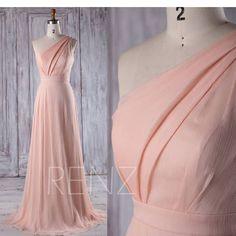 Bridesmaid Dress Peach Chiffon Wedding DressOne Shoulder Prom