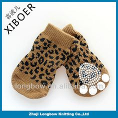 2014 Sprin Fashion Leopard Print Design Well Knitted Cotton Pet Socks With Non-skid Sole,Used For Cat And Dog - Buy Nice Cat And Dog Socks,L...