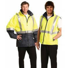Hi-Vis Three in One Safety Jacket with Tapes Colours : Orange/Navy Promotional Clothing, Orange, Yellow, Work Wear, Rain Jacket, Safety, Windbreaker, Industrial, Colours