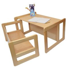 3 in 1 Small Multifunctional Adults Coffee Table or Small Multifunctional Children's Bench or Table in Natural Beech Wood Varnished: Amazon....