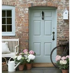 New exterior brick house colors french country decor 43 ideas Cottage Style Doors, Cottage Front Doors, Green Front Doors, Painted Front Doors, Front Door Colors, Brick Cottage, House Doors, Best Exterior Paint, Exterior Paint Colors For House