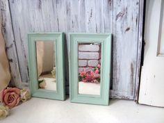 Mint Green Pair of Mirrors, Pastel Green Set of Rectangle Mirrors, Distressed Mirrors, Cottage Chic