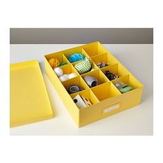 TJENA Box with compartments - yellow or pink or black - IKEA;  storage or shelves for your 18' doll and affordable at $3.49 each