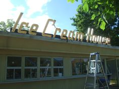 Ice Cream House Pergola, Ice Cream, Outdoor Structures, Signs, House, Sherbet Ice Cream, Home, Shop Signs, Sign