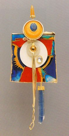 PENTIMENTI #12 : THE EMPRESS 1987 William Harper gold cloisonne' enamel on fine gold and fine silver; 14 and 24k gold; sterling silver; opal; moonstone; jade; kiamite; ivory; plastic collection : Cleveland Museum of Art