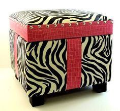 """Faux Pink Patent Leather Zebra Animal Print Girly Storage Trunk Chest Ottoman by Unknown. $64.99. Measurements: 14"""" (Length) 14"""" (Width) 12.5"""" (Height). Item weight: 9 lbs. Take a look at this super cute storage trunk, adorned with faux patent leather giraffe print strips and zebra print panels With an adorable single tufted button on top of the ottoman, this piece is perfect for display and/or storage Great for a teenager, kid's room, baby girl toy storage, a girly girl, ..."""