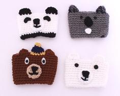 Bear coffee cozy gift set  crochet cup sleeve set by MsAmandaJayne, $44.00