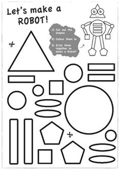 Build-a-Robot Shapes and Scissor Skills by Ellen Craig Make A Robot, Build A Robot, Diy Robot, Robots For Kids, Cutting Activities, Toddler Activities, Preschool Writing, Preschool Activities, Kids Learning