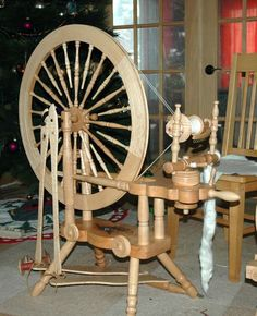 "oh I love the Norwegian style spinning wheels.  They are simply gorgeous!  Jensen - Ashley 30"" in birdsbeye maple."