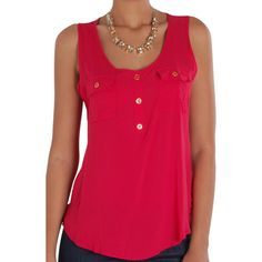 Humble Chic NY Button Up Pocket Tank ($28) ❤ liked on Polyvore featuring tops, red, button up shirts, red button up shirt, button shirt, button down shirts and pink tank top