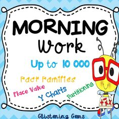 Morning Work - Numbers to 10 000 - Printables for a Month This number pack includes a selection of numbers up to 10 000. It is designed for students in Year three to four depending on their ability level. The worksheets are great for morning work, maths centers or independent work.  By undertaking these number activities daily for a month, students are consolidating their number skills. Each activity focusses on: writing numbers in word form, placing numbers in the place value chart…
