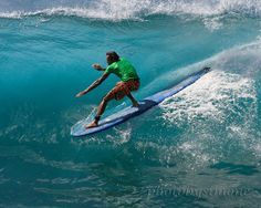 Turquoise wave blue room surfer Maui 11x14 fine by photobysimone, $54.00