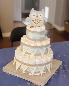 Owl diaper cake, woodland, Baby boy diaper cake Owl Diaper Cakes, Diaper Cake Boy, Baby Shower Diapers, Baby Shower Gifts, Baby Kids, Baby Boy, Sprinkle Party, Nativity Crafts, Diy Cake