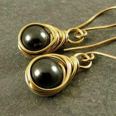 Wire Wrapped Black Pearl Earrings 14K Gold Fill Gifts for Her Ready to Ship Eco Friendly Jewelry by adorned7 on Etsy