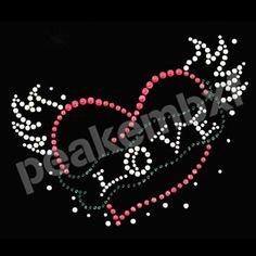 Love With Wing Valentine Rhinestone Heat Transfers Wholesale 30pcs/lot