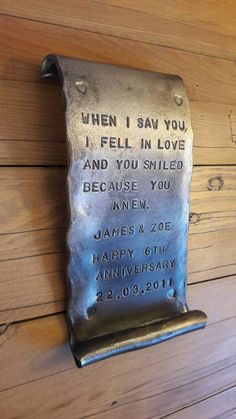 Iron Scroll~ Anniversary Gift~ Partner~ Iron Wedding Vows ~ For Him~ Blacksmith Made Personalised Certificate of Love~ Metal Projects, Welding Projects, Projects To Try, Diy Welding, Wedding Vows For Him, 6th Anniversary Gifts, Blacksmith Projects, Simple Pictures, Iron Work