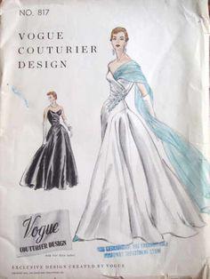 Vogue Couturier 817, ca 1954; Sz 14/Bust 32, FF