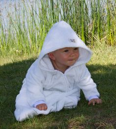 EZ Dry Onezie in white. The original children's towel onesie.