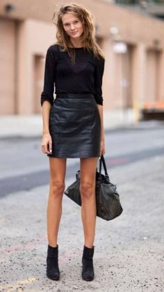 Black Leather Mini Skirt. 3/4 Sleeve top. Ankle Boots. Casual. Dinner.