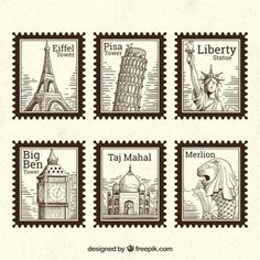 Set of landmark stamps with different cities in hand drawn style Free Vector Journal Stickers, Scrapbook Stickers, Planner Stickers, Bullet Journal Vintage, Postage Stamp Design, Scrapbook Journal, Aesthetic Stickers, Printable Stickers, How To Draw Hands