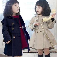Wholesale New Korean Fashion style Girls double-breasted coat children Overcoat Jacket Khaki, dark blue, Free shipping, $15.99-19.38/Piece | DHgate