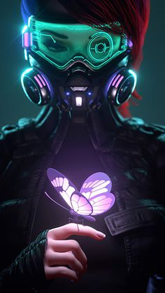 Cyberpunk Girl in a Gas Mask Looking at the Glowing Butterfly iPhone Wallpaper - iPhone Wallpapers