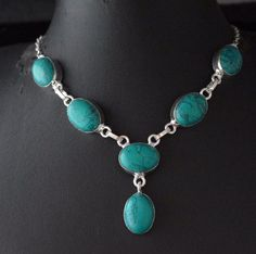 """Glamorous Simulated Turquoise 925 Silver Plated Necklace B""""Day Gift For Her E91 #valueforbucks #Bib"""