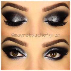"""Who's seen it?! """"New Years eve Makeup tutorial""""!!! -Using @anastasiabeverlyhills dipbrow pomade dark brown on brows - @maybelline color tattoo tough as taupe on crease - @nyxcosmetics raven shadow on lid and crease - @nyxcosmetics roll on shimmer in platinum ! Such a dramatic yet easy look right?!!!"""
