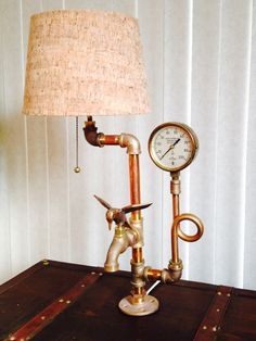 Steampunk, Industrial Art Brass lamp with Vintage Brass pressure gauge and Hummingbird faucet (solid brass) Edison bulb included