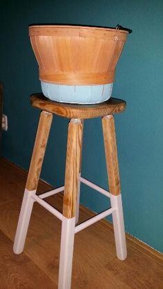 Vintage wooden basket  in dip dye vintage blue ♡ by Restyle & Vintage