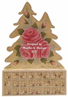 Cottage Shabby Chic hp Pink Roses Christmas Advent Calendar hand painted Vintage #MyArtisticAdventures