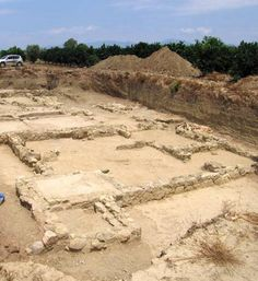 Foundations of structures from the Helike archaeological site.