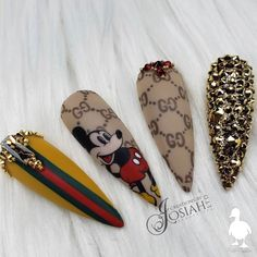 Beautiful hand painted Gucci Mickey Mouse nails by Ugly Duckling Family Member 😍 Ugly Duckling Nails is dedicated to keeping love, support, and positivity flowing in our industry ❤️ Owl Nails, Minion Nails, Aycrlic Nails, Nails Inc, Disney Acrylic Nails, Best Acrylic Nails, Gel Nail Art, Funky Nail Art, Funky Nails