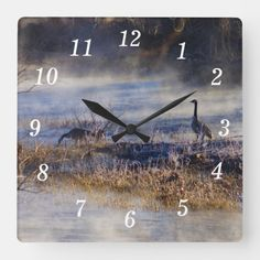 Geese Talking A Break Square Wall Clock Wall Clocks, Hand Coloring, Black And Grey, In This Moment, Prints, Artwork, Work Of Art, Chiming Wall Clocks, Printmaking