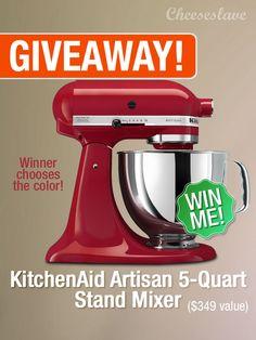 Giveaway: KitchenAid Artisan Series 5-Quart Mixer— $349 Value - CHEESESLAVE